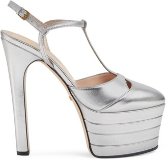 Gucci Metallic leather platform pump