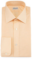 Charvet Micro-Houndstooth Barrel-Cuff Dress Shirt, Orange
