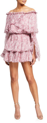 Caroline Constas Dahlia Split-Sleeve Floral Ruffle Mini Dress