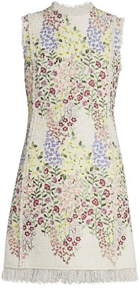 Giambattista Valli Floral-Embroidered Cotton Sheath Dress