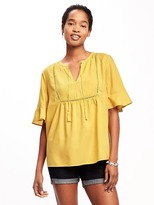 Old Navy Pintuck Ruffle-Sleeve Swing Top for Women
