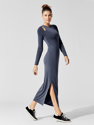 Carbon38 Cupro Cut Out Long-Sleeved Maxi Dress