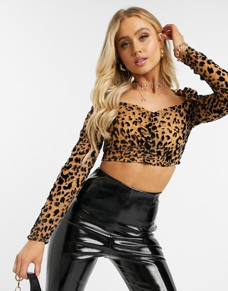 In The Style devore square neck cropped top in leopard