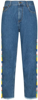 Mira Mikati Beaded High-Rise Straight-Leg Jeans