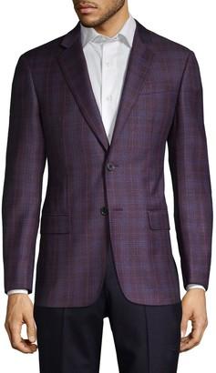 Armani Collezioni Super 130's G-Line Fit Check Virgin-Wool Jacket