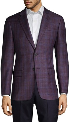 Armani Collezioni Super 130's G-Line Fit Check Virgin-Wool Jacket