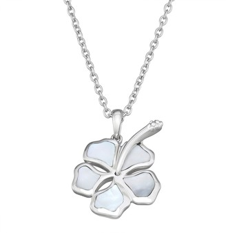 Sterling Silver Abalone Shell Hibiscus Pendant Necklace
