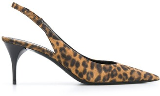 Saint Laurent Leopard Print Slingback Pumps