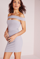 Missguided Cut Out Panel Bardot Bodycon Dress Ice Grey
