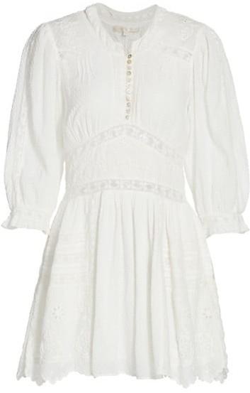LoveShackFancy Leno Embroidered Cotton Dress