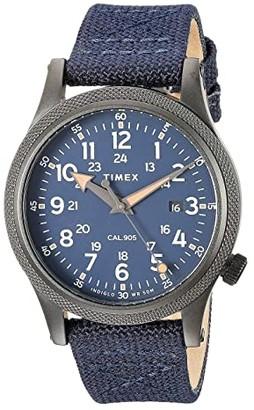 Timex Allied 40mm Stonewashed Fabric Strap Watch (Gunmetal/Blue/Blue) Watches