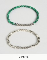 Reclaimed Vintage Malachite Bracelets In 2 Pack