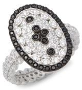 Freida Rothman Sterling Silver Pave Clover Shield Ring