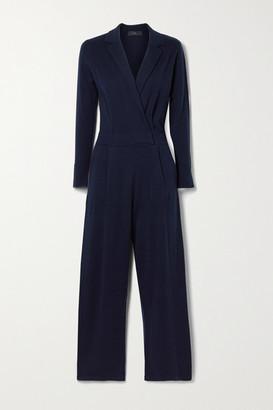 Arch4 Frankie Wrap-effect Cashmere Jumpsuit - Navy