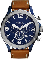 Fossil Men's Chronograph Nate Dark Brown Leather Strap Watch 50mm JR1504