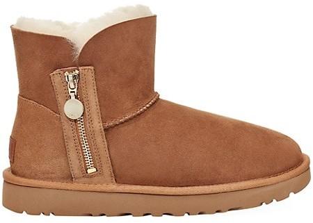 UGG Mini Bailey Zip Sheepskin-Lined Suede Boots