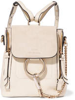 Chloé Faye Mini Suede And Leather Backpack - Off-white