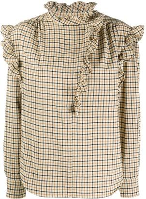 Etoile Isabel Marant Check Print Ruffle Trim Blouse