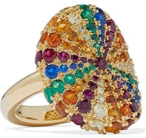 Noir Lollipop 14-karat Gold-plated Crystal Ring