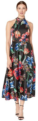 Tahari ASL Sleeveless Printed Maxi with High Neckline (Painted Blossoms) Women's Dress