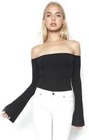 Michael Lauren Hyatt Open Shoulder Bell Sleeve Top in Black