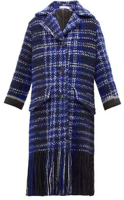 Marni Tasselled Single Breasted Tweed Coat - Womens - Blue Multi