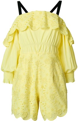Three floor Citron broderie-embellished playsuit