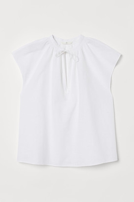H&M Tie-collar Cotton Blouse - White