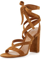 Gianvito Rossi Janis High Suede Lace-Up 105mm Sandal, Almond