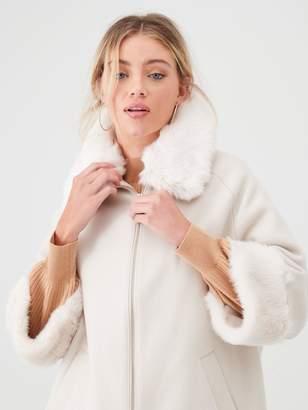 River Island Faux Fur Trim Zip Front Coat-beige