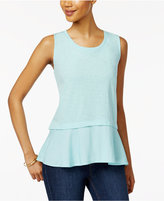 Style&Co. Style & Co Petite Cotton Peplum Top, Only at Macy's