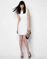 Erin Fetherston Pleated-Skirt Leather Dress, White