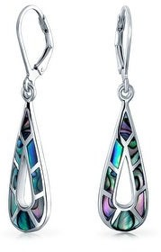 Bling Jewelry Abalone Shell Gemstone Teardrop Dangle Earrings 925 Sterling Silver