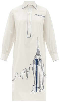 Kilometre Paris - Nyc Piping Embroidered Cotton Pyjama Shirt - Womens - White Multi