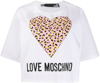 Love Moschino Leopard Hearts T-shirt