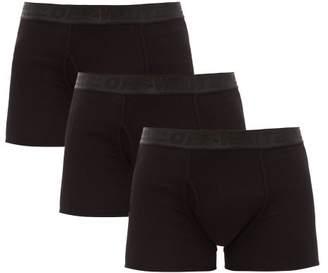 Off-White Off White Pack Of Three Logo Cotton Blend Boxer Briefs - Mens - Black
