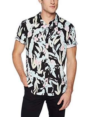 GUESS Men's Short Sleeve Rayon Fragment Print Shirt
