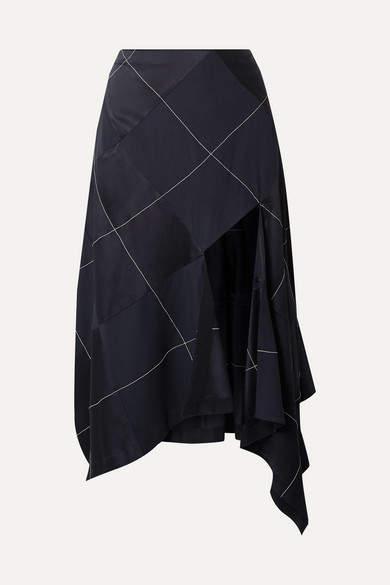 1297bf92c4b8 Navy Satin Skirt - ShopStyle