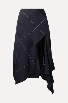Monse Asymmetric Paneled Satin And Crepe Midi Skirt - Navy