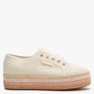 Superga 2790 Cotropew Light Sand Beige Canvas Colour Rope Flatform Espadrilles
