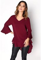 Girls On Film Womens/Ladies Fluted Sleeve Frill Blouse