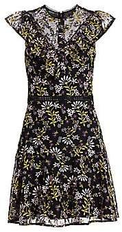 ML Monique Lhuillier Women's Embroidered Floral Flutter-Sleeve Dress