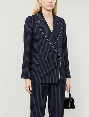 Zadig & Voltaire View Ray? embellished-trim pinstriped woven blazer