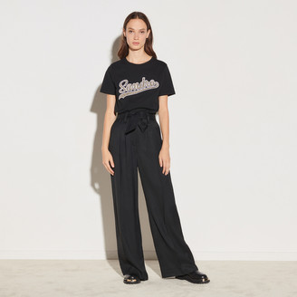 Sandro High-waisted wide-leg flowing pants