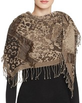 Echo Animal Jacquard Fringe Scarf