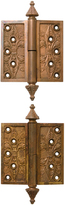 Rejuvenation Pair of Ornate Bronze Lift Off Hinges Patented 1869