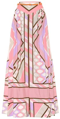 Emilio Pucci Printed stretch-cotton maxi skirt