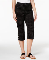 Karen Scott Petite Dot-Print Button-Hem Capri Pants, Created for Macy's