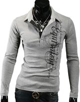 WSLCN Men's Casual Polo Shirt Long Sleeve Slim Fit with Printing Letters Grey