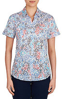 Allison Daley Button Front Spot Tile Print Short Sleeve Shirt